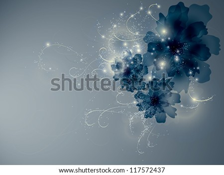 Sapphire blue flowers / Enchanting floral background - stock vector