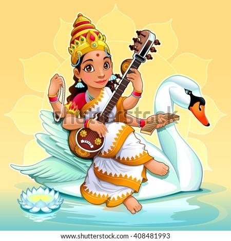 Sarasvati, Hindu goddess of knowledge, music, arts, wisdom and learning. Vector cartoon illustration. - stock vector