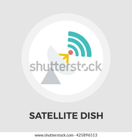 Satellite antenna icon vector. Flat icon isolated on the white background. Editable EPS file. Vector illustration. - stock vector