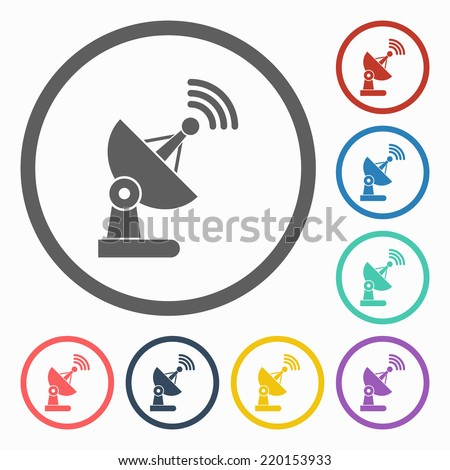 satellite dish icon - stock vector