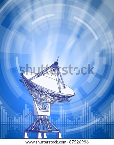 satellite dishes antenna - doppler radar, rays of light & blue radial technology background. Vector illustration / eps10 - stock vector