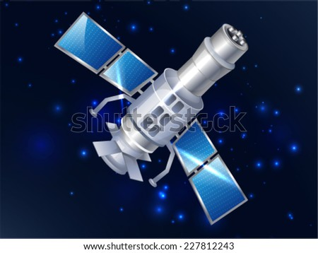 Satellite Orbiting in Space - stock vector