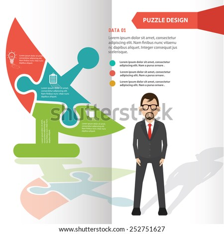 Satellite puzzle info graphic design and character,clean vector - stock vector