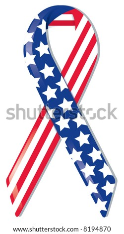 Satin awareness ribbon in American flag pattern, representing support of freedom and nation, remembrance of 9|11 and World Trade Center victims and heroes - stock vector