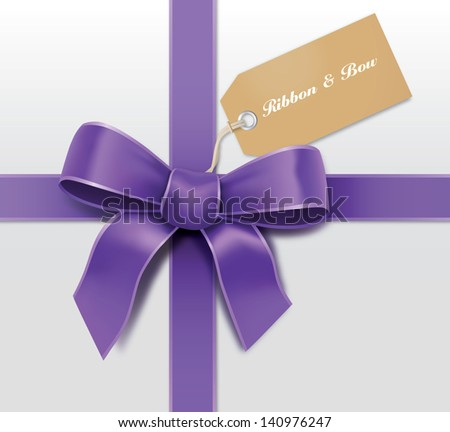 Satin purple ribbon with card - stock vector