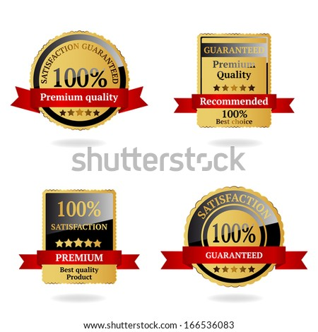 Satisfaction guaranteed gold badges - stock vector