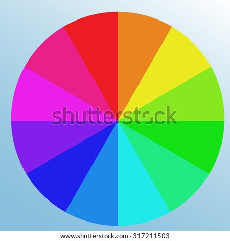 Saturated bright color swatch, wheel. Isolated object on light blue background - stock vector