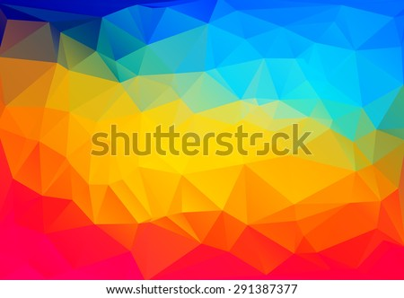 saturated rainbow low-poly background. vector illustration - stock vector