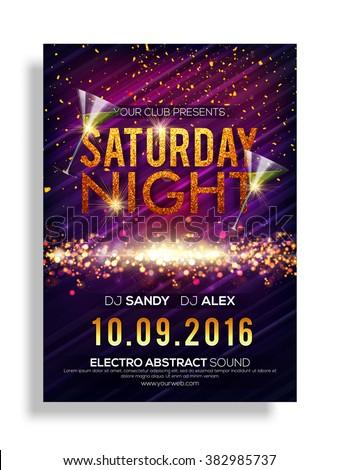 Saturday Night Party celebration, Elegant shiny Flyer, Banner or Pamphlet. - stock vector