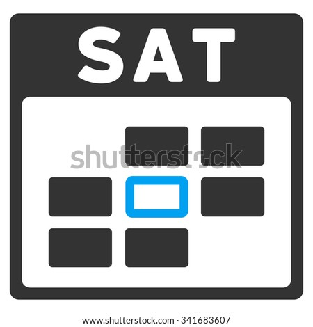 Saturday vector icon. Style is bicolor flat symbol, blue and gray colors, rounded angles, white background. - stock vector