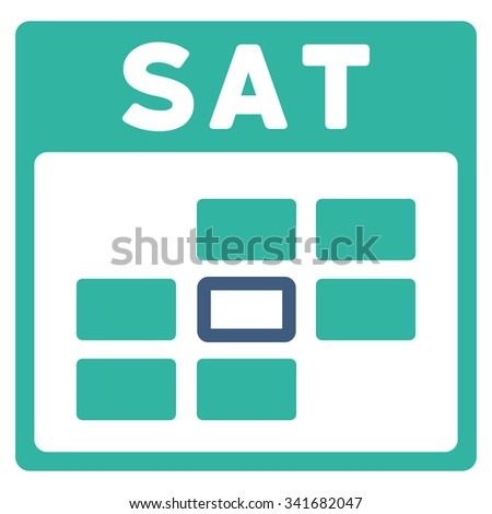 Saturday vector icon. Style is bicolor flat symbol, cobalt and cyan colors, rounded angles, white background. - stock vector