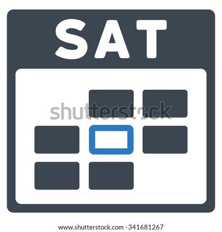 Saturday vector icon. Style is bicolor flat symbol, smooth blue colors, rounded angles, white background. - stock vector