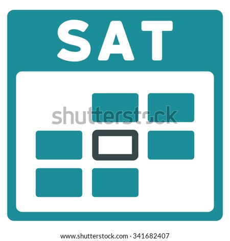 Saturday vector icon. Style is bicolor flat symbol, soft blue colors, rounded angles, white background. - stock vector