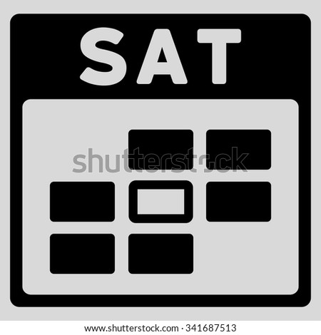 Saturday vector icon. Style is flat symbol, black color, rounded angles, light gray background. - stock vector