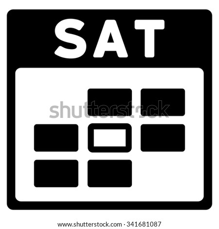 Saturday vector icon. Style is flat symbol, black color, rounded angles, white background. - stock vector
