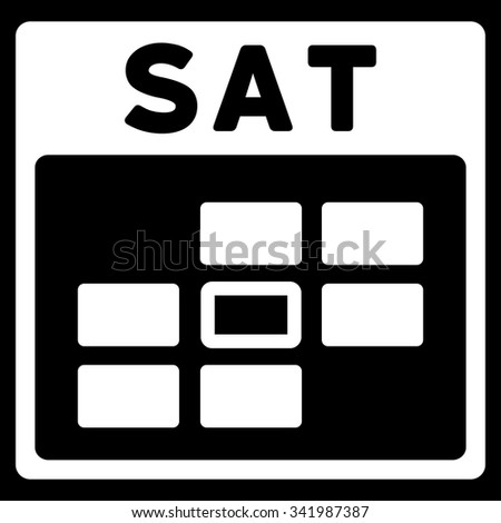 Saturday vector icon. Style is flat symbol, white color, rounded angles, black background. - stock vector