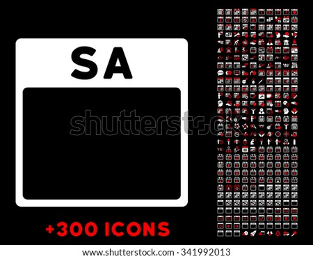 Saturday vector pictogram with additional 300 date and time management icons. Style is bicolor flat symbols, red and white colors, rounded angles, black background. - stock vector