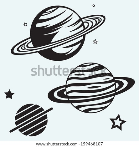 Saturn Planet isolated on blue background - stock vector