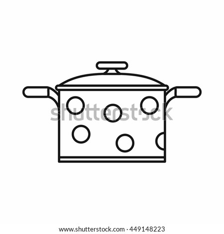 Saucepan icon in outline style isolated vector illustration - stock vector