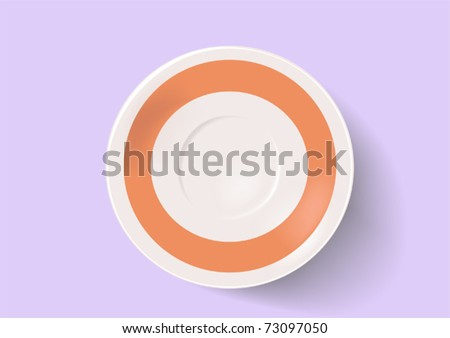 Saucer on a grey background - stock vector