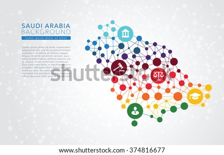 Saudi Arabia dotted vector background - stock vector