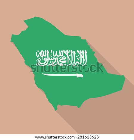 Saudi Arabia Map Flag Saudi Arabia Flag Map Flat