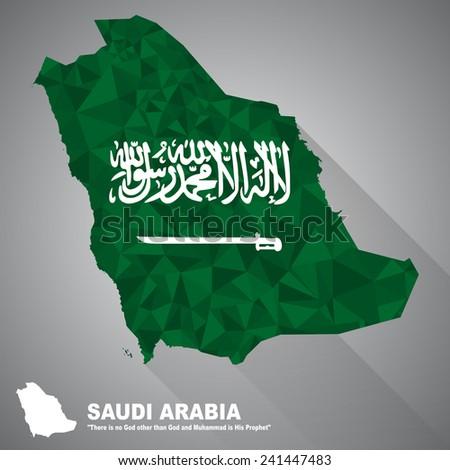 Saudi Arabia flag overlay on Saudi Arabia map with polygonal and long tail shadow style (EPS10 art vector) - stock vector