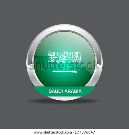 Saudi Arabia Flag Round Icon - stock vector