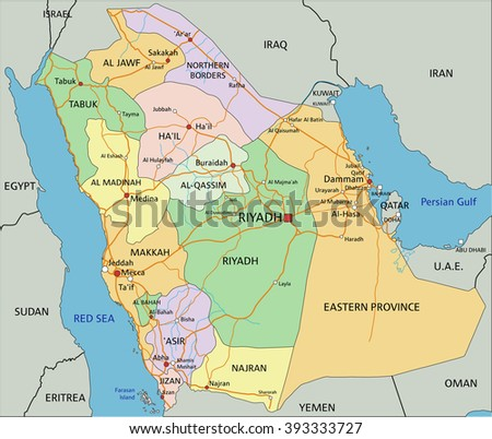 Saudi Arabia - Highly detailed editable political map with labeling. - stock vector
