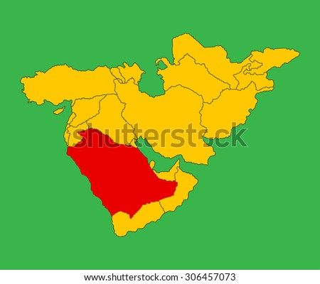 Saudi Arabia vector map silhouette illustration isolated on Middle east vector map. - stock vector