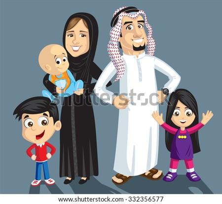Saudi family - stock vector