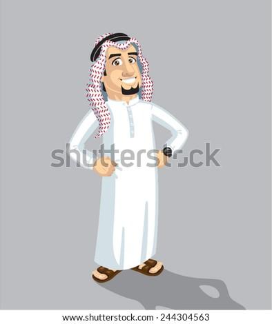 Saudi man stand - stock vector