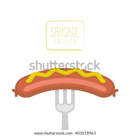 Sausage prick with a fork isolated on a white background. Vector illustration - stock vector