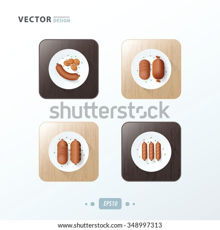 sausages, Hot dog Icons design food on wood - stock vector
