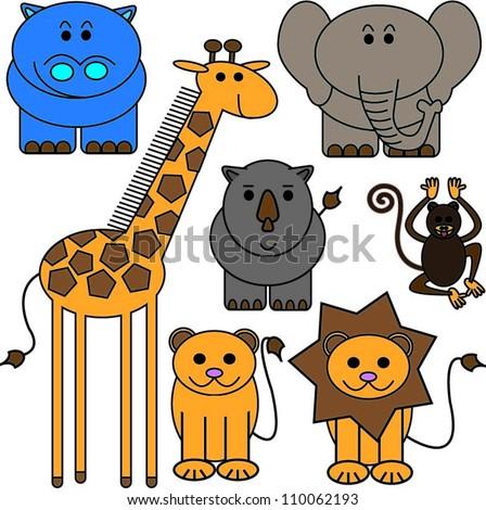 Savanna animals - stock vector