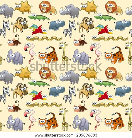 Savannah animals with background. The sides repeat seamlessly for a possible packaging or graphic - stock vector