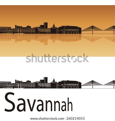 Savannah skyline in orange background in editable vector file - stock vector