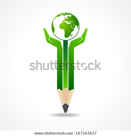 Save earth concept with pencil hands earth stock vector  - stock vector