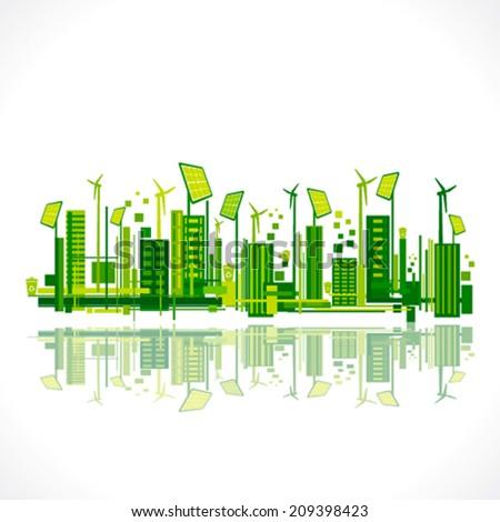 save earth or green city reflection design concept vector - stock vector