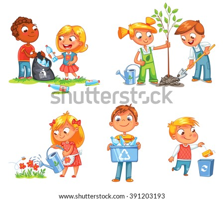 Save Earth. Waste recycling. Children planted young trees. Girl watering flowers from watering can. Kids gathering plastic bottles for recycling. Boy throws litter into bin. Isolated white background - stock vector