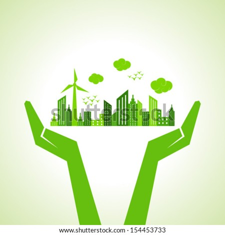 Save eco city concept -vector illustration - stock vector