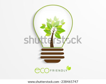 Save Ecology concept with idea for save the energy, Eco Friendly text and green tree in a electric bulb on white background. - stock vector
