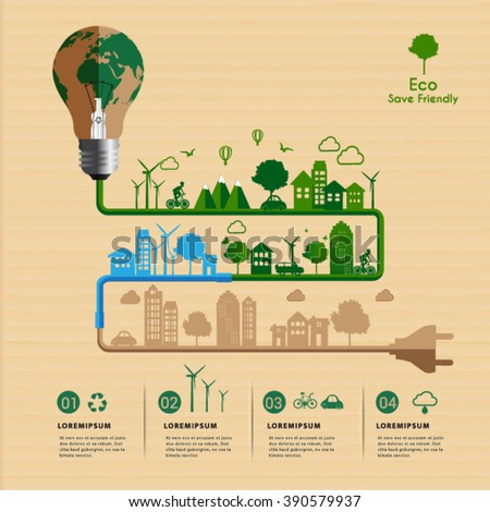 Save friendly eco power concept infographic. - stock vector