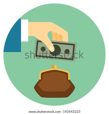 Save Money Flat Style Icon.  Hand puts bill in wallet. Vector eps10 illustration - stock vector