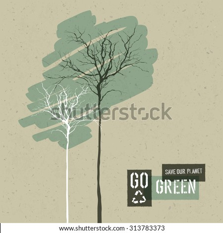 Save Nature Concept Illustration. Trees on Cardboard Realistic Background. Go Green Headline with Reuse Symbol. Vector illustration. - stock vector