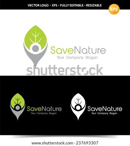 Save Nature logo. - stock vector