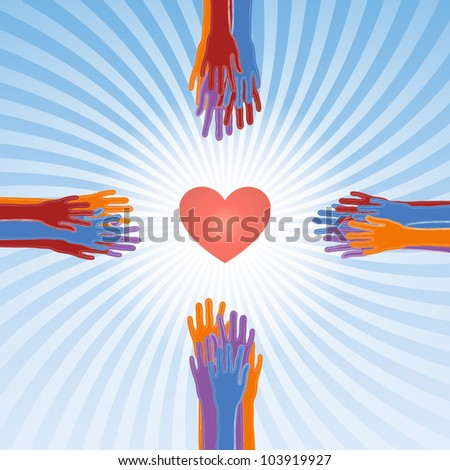 save our souls, the cross from hands and the symbolic heart - stock vector