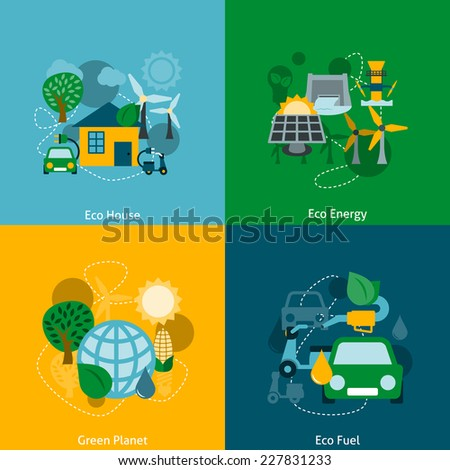 Save planet ecosystem green ecological energy technology house power fuel four flat icons composition abstract vector illustration - stock vector