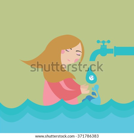 save saving water woman flood drop of water - stock vector