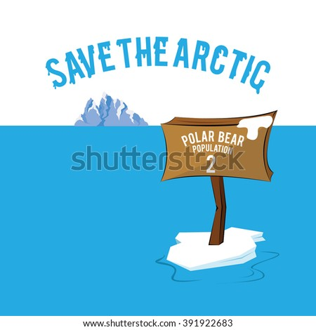 Save the Arctic melting iceberg with low polar bear population - stock vector
